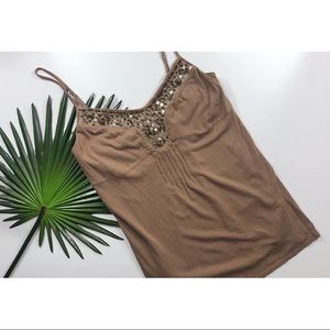 [Ezra Fitch] Brown Embellished Tank